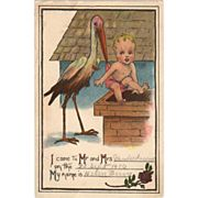 Old Birth Announcement Postcard with Stork & Baby