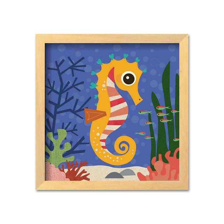 """Art.com """"Ocean Friends, Samuel"""" Brown Framed Art Print by Jenn Ski, Multicolor"""