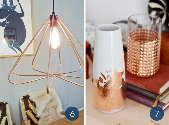 A copper light fixture and copper dipped vases.