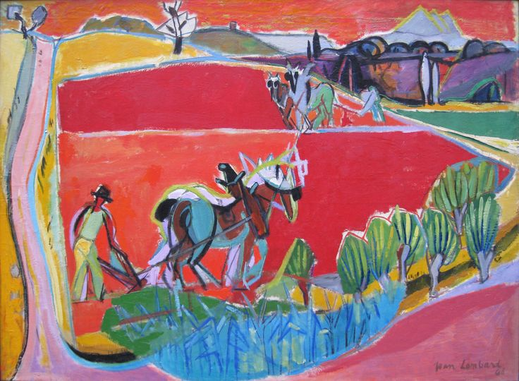 'Les Laboureurs' by Jean Lombard Oil on Canvas: 100 x 140 cm Signed & Dated 1946