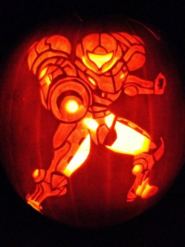Samus pumpkin carving metroid video game art