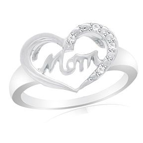 Accent Mom Heart Promise Ring 14K White Gold # With Free Stud Earring by JewelryHub on Opensky