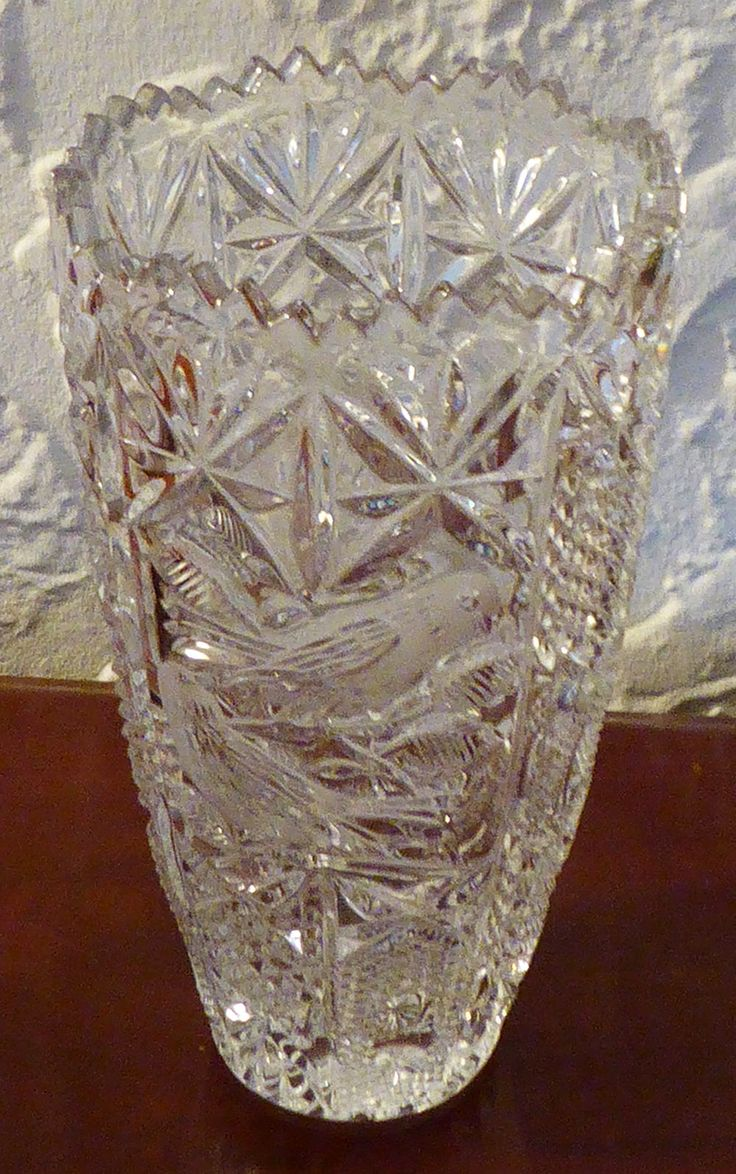 Crystal Hofbauer Byrdes ? Frosted Birds Fluted Saw Tooth Edge Press Cut Prescut Star Pineapple Diamond Point Glass Large Tall Flower Vase by BirdsVintageMedley on Etsy