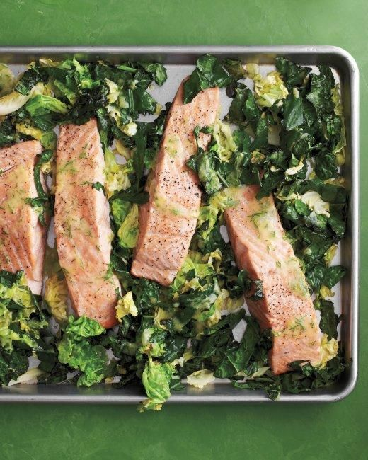 Roasted Salmon with Kale and Cabbage Recipe: Dinner, Cabbages, Roasted Salmon, Food, Cabbage Recipe, Other, Martha Stewart, Sheet Pan