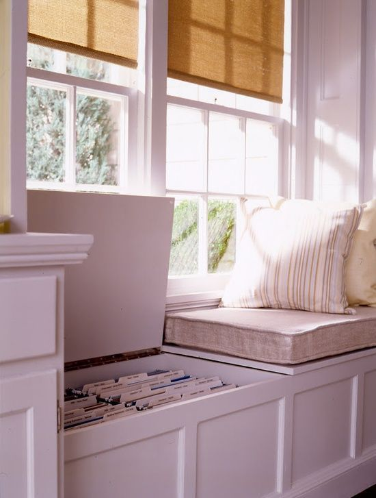 Window seat with built-in file storage for office - but put drawers in window seat instead of lift up top - so much easier than moving pillows and such out of the way.