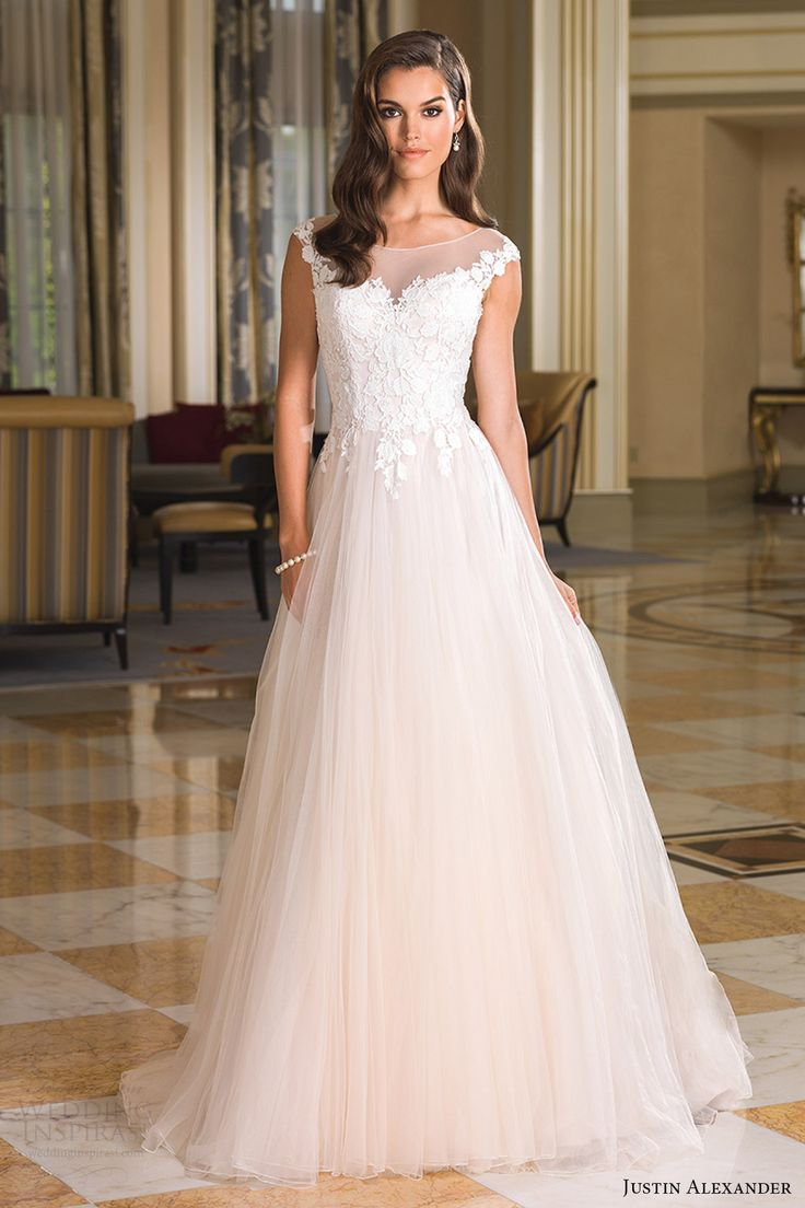 justin alexander bridal fall 2016 cap sleeves illusion bateau neck ball gown wedding dress (8852) mv romantic