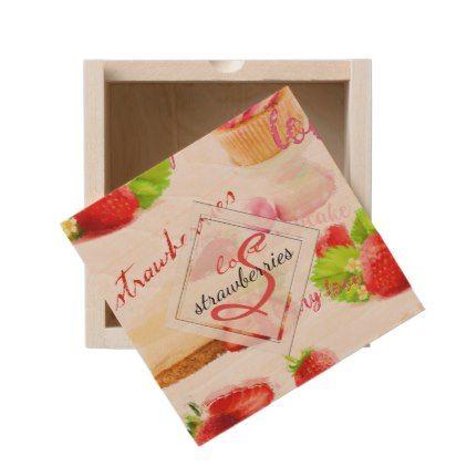 Watercolor Strawberry Sweets Love Monogram Wooden Keepsake Box - monogram gifts unique design style monogrammed diy cyo customize