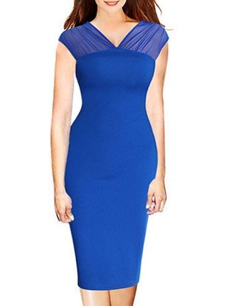 Chic Sheer V Neck  Patchwork Bodycon-dress Bodycon Dresses from fashionmia.com