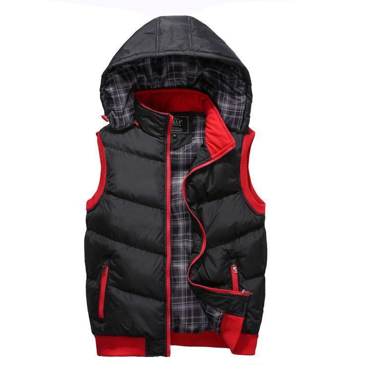 New Mens Body Warmer Gilet Hoodie Hooded Contrast Hood Sleeveless Jacket M -5XL