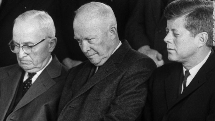 Harry S. Truman, Dwight D. Eisenhower, and John F. Kennedy sit together at House Speaker Samuel Rayburns funeral in November 1961.