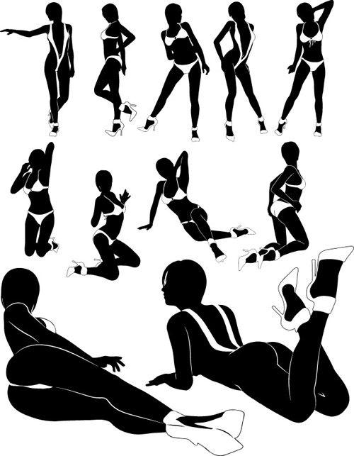 Forskellige stillinger piger vektor silhuetter 04