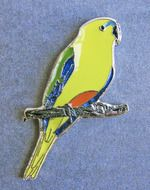 Orange-bellied Parrot lapel pin. On sale at the Orange-bellied Parrot Shop: orangebelliedparrot.ecwid.com