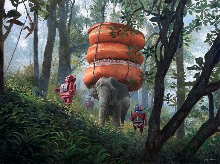 This artist paints bizarrely charming scenarios usually featuring robots and donuts. - Imgur