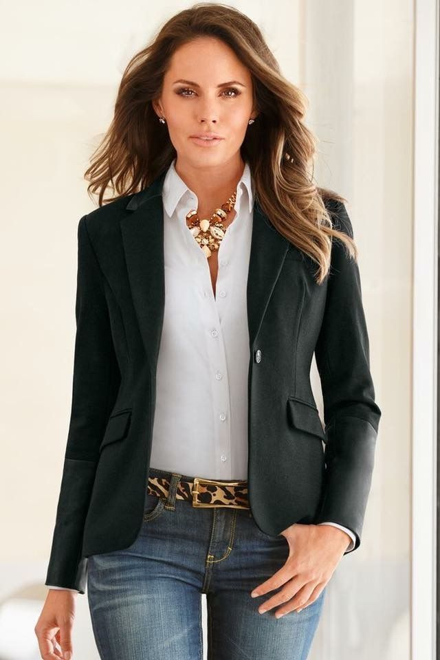38731f57e37 Love this black blazer over simple white shirt and denim jeans with ...