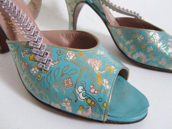 1940s Dress Shoes  Designer Peep Toe Slingback by 4birdsvintage, $195.00