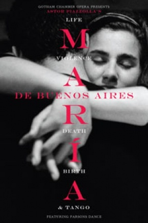 Renowned Argentine photographer Adriana Lestido contributed her artwork for the poster of the Gotham Chamber Opera's production of Astor Piazzolla's tango opera, María de Buenos Aires.