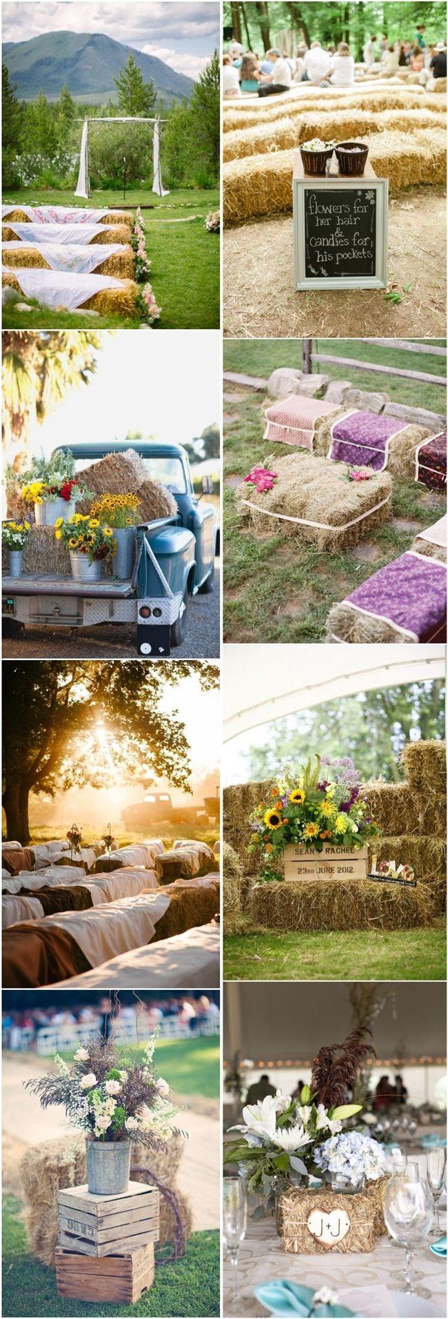 rustic country wedding ideas- hay bales wedding decors / http://www.deerpearlflowers.com/30-ways-to-use-hay-bales-at-your-country-wedding/