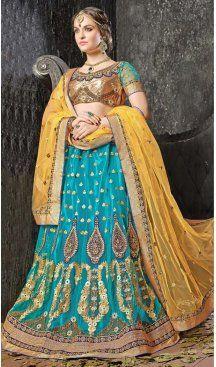 Aqua Blue Color Jacquard Silk A Line Style Lehenga Choli | FH586586342