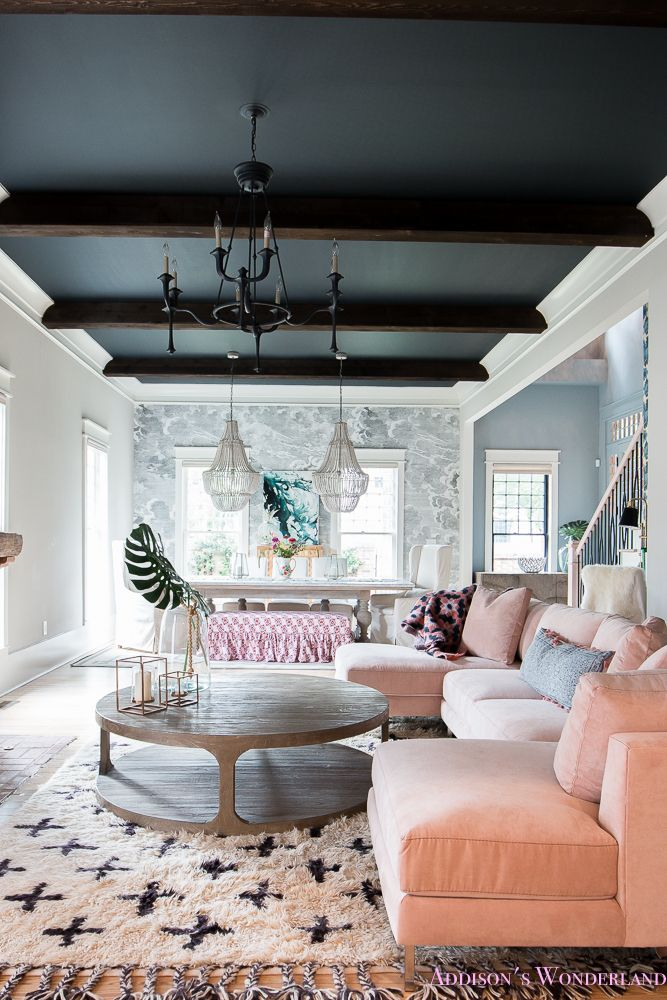 """Our Colorful """"Fresh"""" Vintage Living & Dining Rooms... A fresh vintage space featuring Sandberg & Nuvolette wallpaper, a black ceiling, dark wood beams, powder blue walls doors, a blush sectional and so many cute accessories from HomeGoods! Sponsored by HomeGoods. #sponsored"""