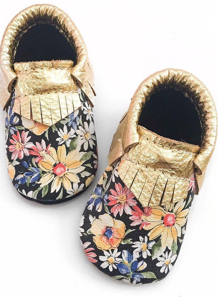 Baby Moccasins, Toddler Moccasins, Floral moccasins