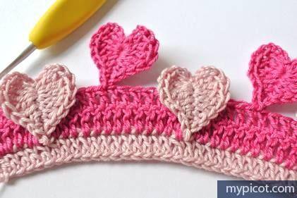 Manta para bebe tejida a crochet con puntos de corazon-13