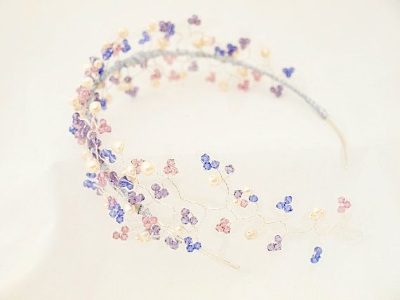 Blossom hair vine tiara, sits over head like a headband with a hair vine sweeping down towards the nape of the neck. Super pretty and unusual.