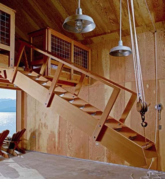 Lift Staircase In Winter And Store The Dock And Chairs