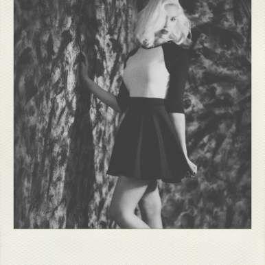 Baseball 3/4 length sleeve tee, skater skirt, black and white photography, blonde girls,