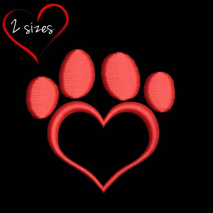 Mini Paw Embroidery Machine Designs heart design animal dog pattern digital instant design t-shirt towel in the  hoop pes file by SvgEmbroideryDesign on Etsy