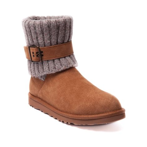 Womens UGG® Cambridge Boot, Chestnut, at Journeys Shoes. Features a smooth sheepskin upper with a fold-over knit boot shaft and adjustable buckle strap for form fitting comfort and adaptability. Sheepskin lining, cushioned foam insole, and lightweight. grippy rubber outsole. $169.99