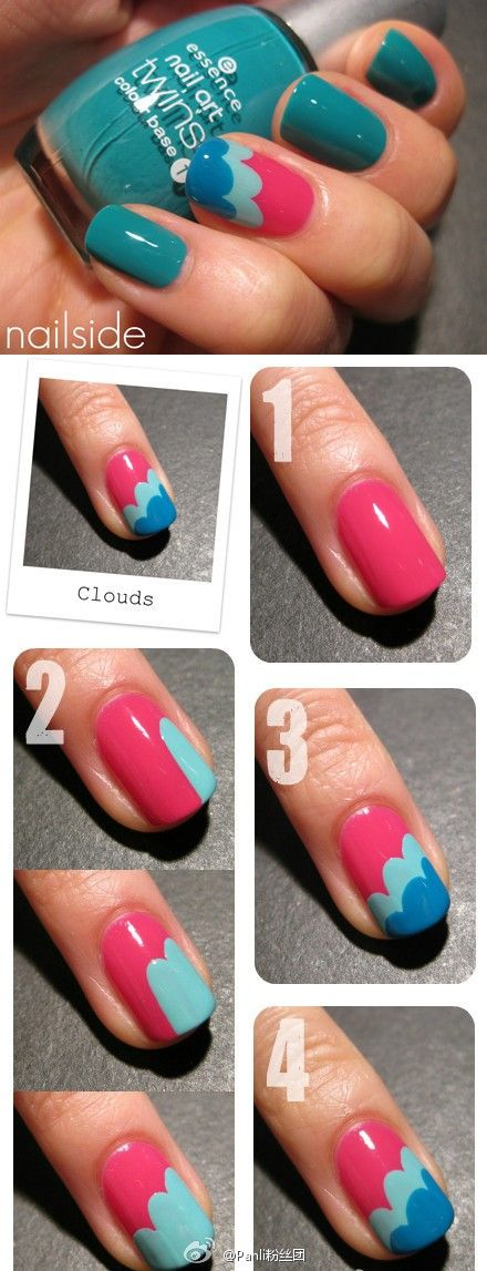Polish: Nails Art, Cute Nails, Nails Design, Cloud Nails, Summer Nails, Nails Ideas, Nails Polish, Nails Tutorials, Diy Nails