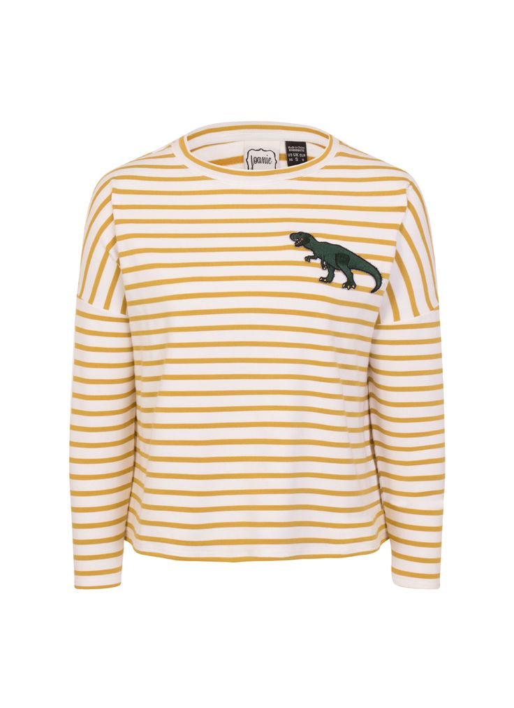 The Dina dinosaur top is a fun twist on a classic Breton style. The embroidered T-Rex patch on a soft jersey means Dina is perfect for relaxed style.