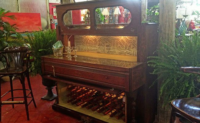 "A ""Piano Bar"" made with a salvaged piano found in a stable--made by Mike Whiteside from HGTV Show Salvage Dawgs"