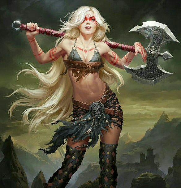 Human Female Barbarian - Pathfinder PFRPG DND D&D d20 fantasy