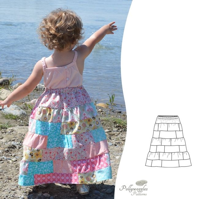 The Tessa Rose PDF sewing pattern is a full length patchwork skirt for girls, perfect for fabric scraps.