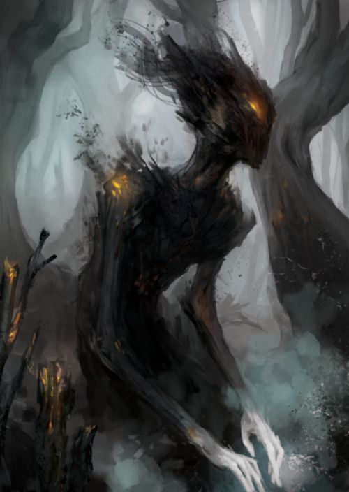 Could be a Banshee in the woods. A dark Banshee seeking for other beeings life energy. Shadow type probably.
