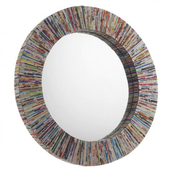 COHEN Multi-coloured recycled magazine round wall mirror
