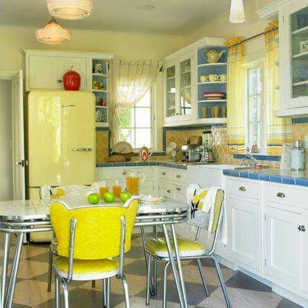 Kitchen , Homey Retro Kitchen Design Style : Retro Kitchen Design Style  With White Cabinets And Ceramic Backsplach And Diamond Flooring And Yellow  Fridge ... Part 79