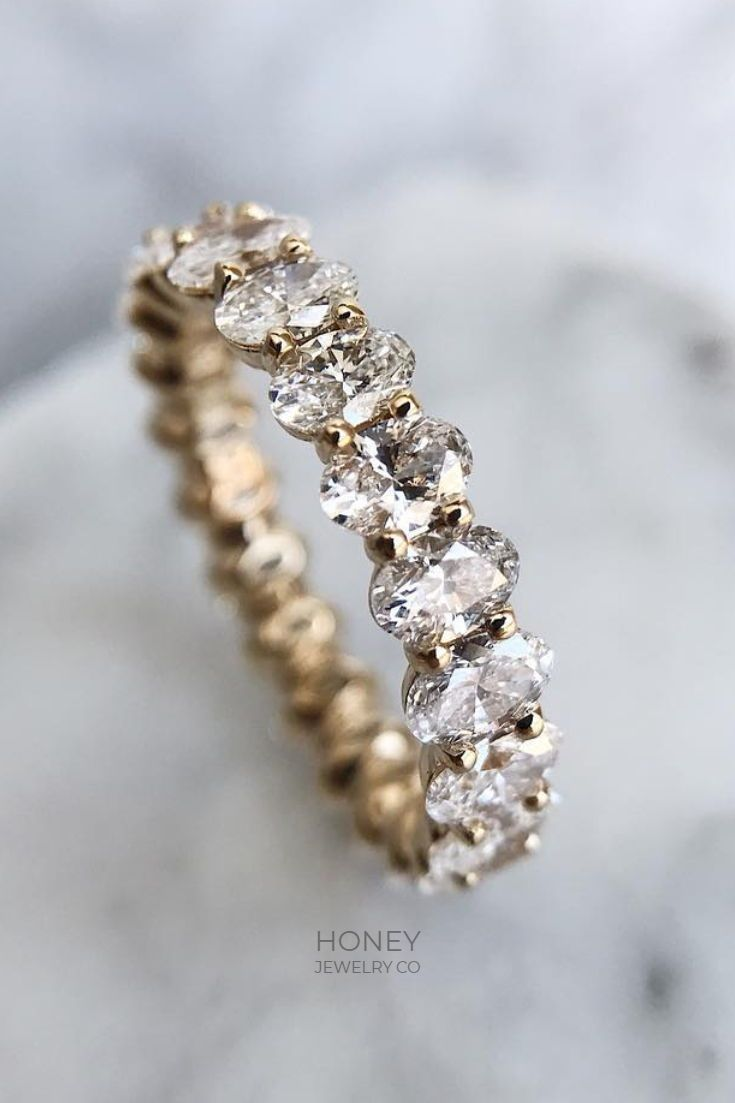 Chloe Oval Diamond Wedding Band In 2020 Traditional Engagement