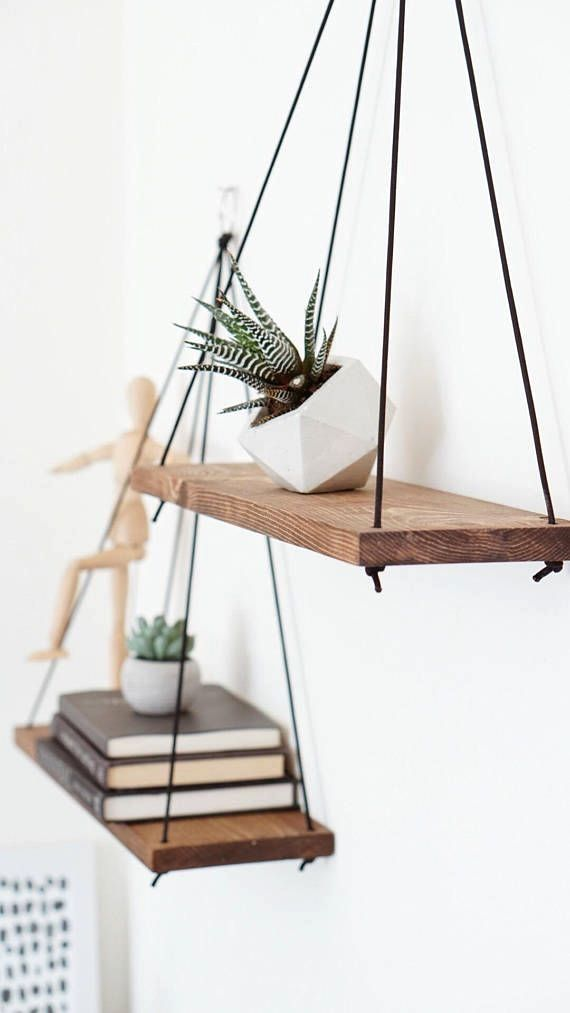 Listing Is For 2 Two Hanging Shelves These Hanging Wooden Shelves Are Just What You Need If You Are Natural Home Decor Home Decor Accessories Hanging Shelves