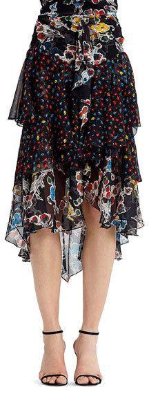 Jason Wu Mixed-Print Chiffon Midi Skirt, Black Pattern