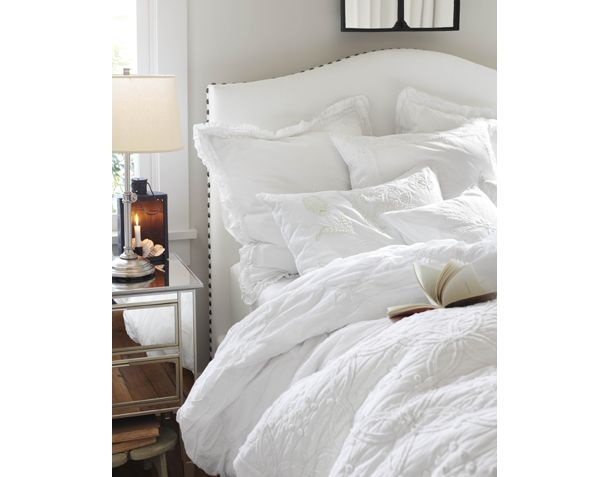 The all white bed by Pottery Barn