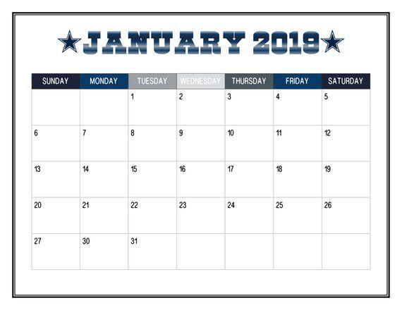 2019 Printable Dallas Cowboy Themed Calendar 2019 Wall Calendar