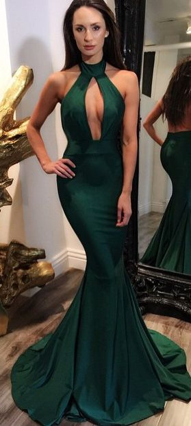 Mermaid/Trumpet Prom Dresses, Dark Green Mermaid/Trumpet Prom Dresses, Mermaid/Trumpet Long Prom Dresses, Trumpet/Mermaid Halter Floor-length Chiffon Prom Dress/Evening Dress