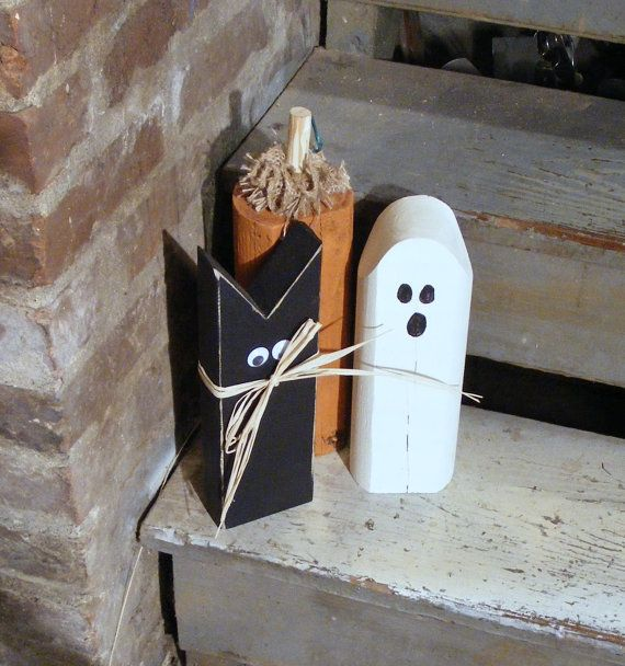 Rustic Halloween Black Cat, Pumpkin, Ghost Shelf Sitter - Primitive Halloween Decor - Rustic Reclaimed Wood - Rustic Halloween - Fall Decor