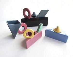 Image of 1980's Post Modern Tea Set