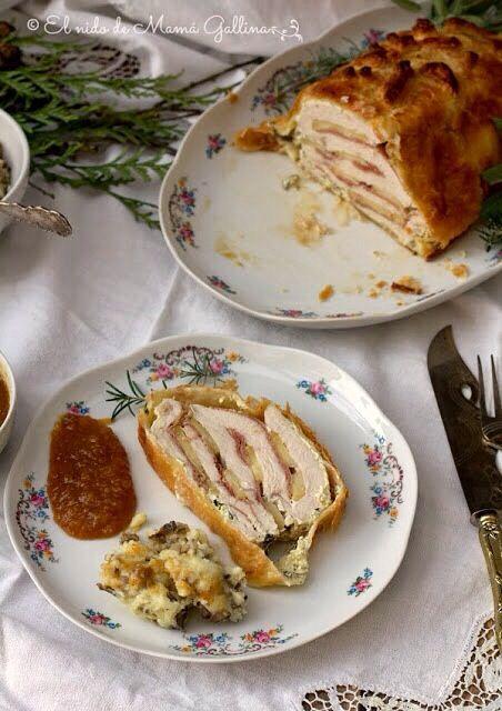 Pavo relleno con manzanas y Jamon... Receta para Navidad o día de acción de gracias...//Stuffed turkey with apples and Jamon ... Recipe for Christmas or Thanksgiving Day ...//http://www.recetapordia.es/ver/elnidodemamagallina-blogspot-com-es/pavo-relleno-de-manzanas-y-jamon-recetassolidariasparanavidad.html