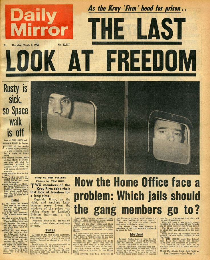 "As the Kray 'Firm"" head for prison"