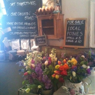 Local posies for sale at The Horseguards Inn, Tillington