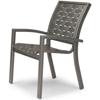 Telescope Casual Kendall Stacking Patio Dining Chair (Set of 4) Finish: Textured Black, Strap Color: Red